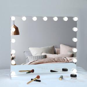 Three color lights Hollywood makeup mirror 17 Dimmable Bulbs Vanity Hollywood Makeup Mirror with light bulbs