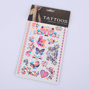 Floral Luminous Tattoo Sticker Feet Or Other Parts Of Body Temporary Tattoo,Non-Toxic Paper Temporary Tattoo Sticker