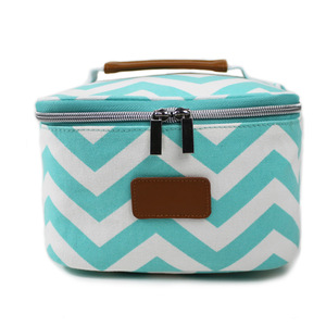 OEM Factory Women Round Cosmetic Bag Travel Canvas Makeup Mag