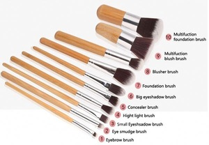 wood handle makeup brush set for makeup tools