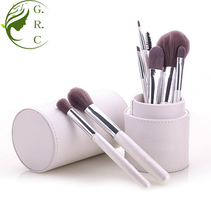 White color wooden handle makeup brush set wholesale 8pcs makeup brush kits Synthetic hair brush tools with a cylinder case
